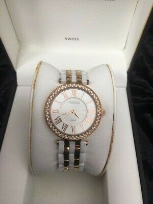 Anne Klein 12/2262RGWT Women's 34mm RoseTone/White Ceramic Swiss Watch