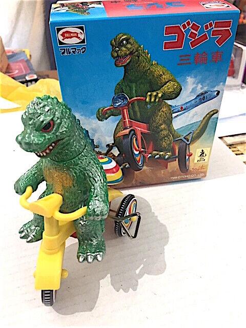 famous Godzilla Tricycle Figure Bullmark tin plastic  Japan horror monster M1 (New - 199.99 USD)