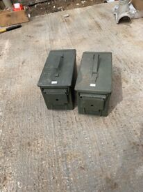 2 Metal Ammo boxes for sale. Green. 16cx x 30 cm x 18.5 cm high.