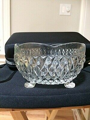 Vintage Tufted Diamond Pattern 3 Footed Clear Glass Bowl with Scalloped Rim