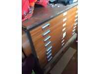 Vintage Architects Industrial A0 PLAN CHEST DRAWERS Teak Draughtmans Planner