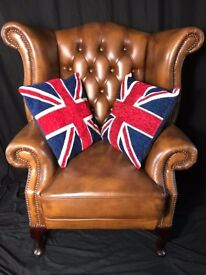 1 Magnificent Handmade Bespoke Chesterfield By Saxons Leather Wingback Chair
