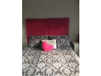 STUNNING TWO PANEL DEEP PINK PADDED HEADBOARD SUITABLE FOR DOUBLE OR KING BED