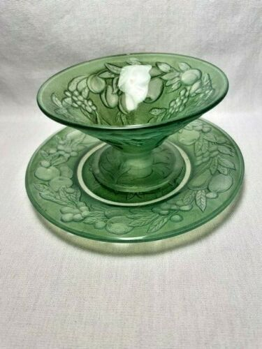 Consolidated Glass Five Fruits Sunday and Underplate Green Wash (3) sets