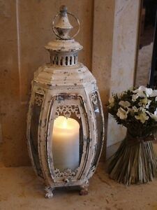 Antique French Vintage Style Large Lantern Candle Holder Cream Home Or Garden