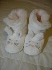 The White Company Bunny Slipper Booties / 12-18 Months **As New Condition**