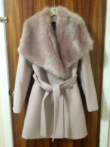 Powder Pink Faux Fur Collar Coat With Belt (Never Worn)