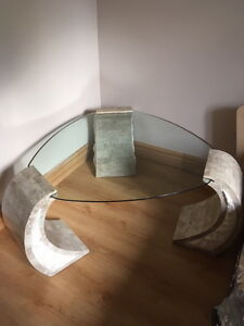 unique table from stone & glass.
