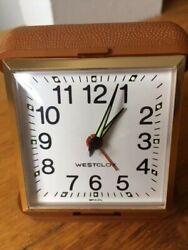 Vintage WESTCLOX Travel Alarm Clock Windup Analog Brown Hard Plastic Case -Works