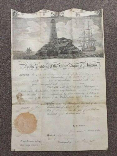 THOMAS JEFFERSON & JAMES MADISON SIGNED PIRATES DOCUMENT, 1802, BARBARY WAR