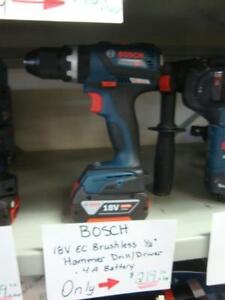 Bosch 18V Lithium Ion Cordless EC Brushless Compact Tough 1/2-inch Hammer Drill/Driver with 1 4.0 ah Battery NEW
