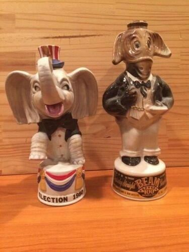 Vintage Lot of 2 REPUBLICAN DEMOCRATIC WHISKEY DECANTERS BOTTLES elephant donkey