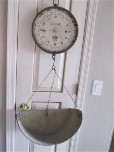GINGE Farmhouse Hanging Scale Decor Large Distressed Aged Ceiling Hang