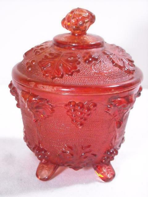 IMPERIAL GLASS VTG. GRAPE RUBY RED FOOTED CANDY DISH W LID 5""
