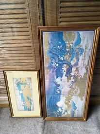 "Chinese print pictures in gold wooden frames. Larger print approx 36"" x 18"""