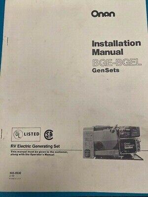Onan Installation Manual Bge-bgel - Gensets 965-0630 286