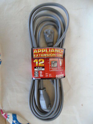 12 FOOT 15 Amp 14 GUAGE AWG 125V EXTENTION CORD APPLIANCE AIR CONDITIONER   (Foot 15 Amp)