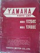 YAMAHA YZ250C & YZ400C fACTORY MOTORCYCLE  PARTS MANUAL c1975 Dianella Stirling Area Preview