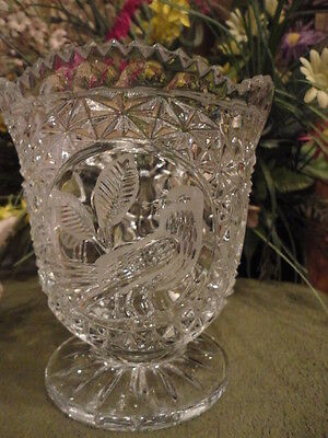 Hofbaur Glass Candy Bowl Etched Bird Cut Glass Base 5-1/2 in T Vintage