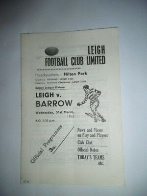 Leigh v Barrow 31st March 1965 League Match @ Hilton Park, Leigh