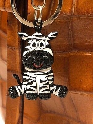 Metal Enamel w/Rhinestone Accents Zebra Key Ring/Purse Charm/Zipper - Enamel Key Ring