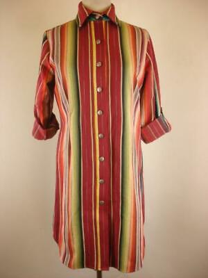 Women's S Silverado Dress Button Down Western Serape Woven Roll Long Sleeve USA