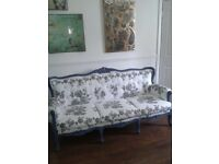 Upholstered sofa /settee - Queen Anne, vintage, shabby chic, retro