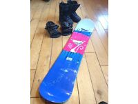 Snowboard, Boots and Bindings. 125 Ltd made in Austria. Excellent Kid Board