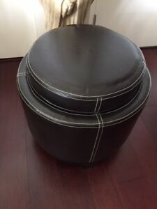 Leather sitting stool/foot rest, with storage and reversible lid