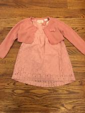 ZARA BABY Girls Pink Lace Dress Shrug Sweater Set Sz 2-3 ...