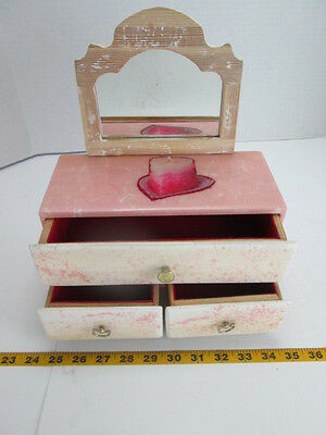 - Jewelry Box w/Mirror Lacquered Finish 3 Drawer Glossy Pink/White 10