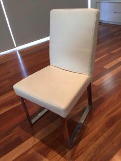 SUPER CHEAP - Stylish white leather and chrome chairs Annandale Leichhardt Area Preview