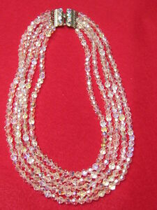 3 strands AURORA BORALIS CRYSTAL GLASS BEADS NECKLACE