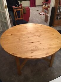 Ikea Norden extending dining table - round 1.34metres, extended 1.74 metres
