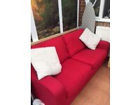 Red Sofa, arm chair and storage foot stool