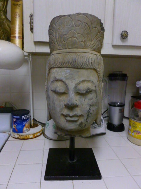 VERY LARGE AUTHENTIC SOUTHEAST ASIAN HAND CARVED STONE BUDDHA HEAD