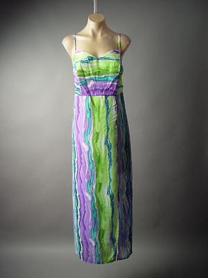 Painterly Water Color Brushstroke Strappy Plus Day Long Maxi 185 mv Dress 1X - Water Color Dress