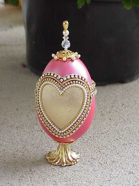 Decorated Real Goose Egg Jewelry Trinket Gift Box Metallic Heart