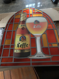Leffe Beer Stained Glass Sign