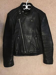 Motorcycle Leather Jacket (Black) Old Mill / Bainton's (Lg/XL)