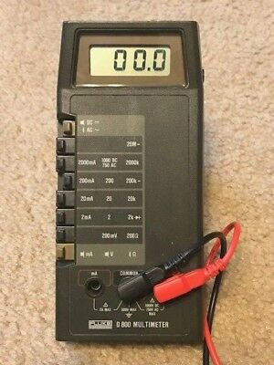 Fluke D800 Handheld Multimeter In Good Shape Wtest Leads And Carrying Case.