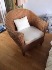 RATTAN BEDROOM ARM CHAIR AND FOOT STOOL IN GOOD USED CONDITION FREE LOCAL DELIVERY 07486933766