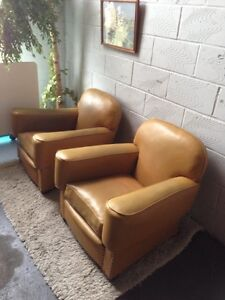 A Pair of Vintage Leatherette Club Lounge Chairs Art Deco