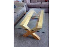 Coffee Table - Oak base, glass top