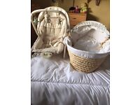Baby rocker with music, and Moses basket