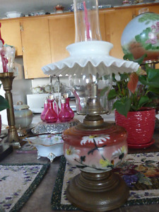 Elegant Large Antique Oil Lamp With Milk Glass Petticoat Shade