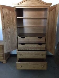 Handcrafted Solid Oak Bedroom Set (King size) $2000 OBO