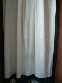 pair creamy white lined curtains with wide black border edge - southbourne