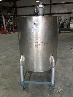 100 Gallon Stainless Steel Open Top Mix Tank With Pneumatic Top Mounted Mixer