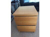 Ikea Malm Light Oak two drawer bedside chest